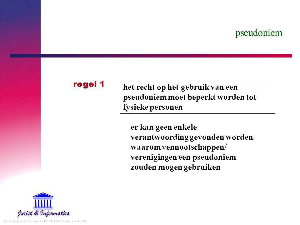 pseudoniem regel 1. het recht op het gebruik van een pseudoniem moet beperkt worden tot fysieke personen.