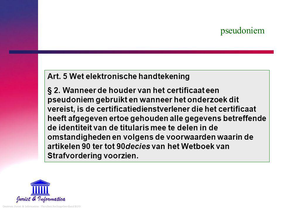 pseudoniem Art. 5 Wet elektronische handtekening
