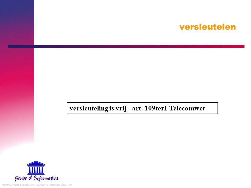 versleutelen versleuteling is vrij - art. 109terF Telecomwet