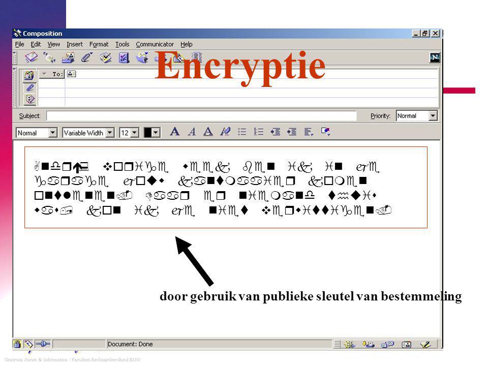 Encryptie door gebruik van publieke sleutel van bestemmeling