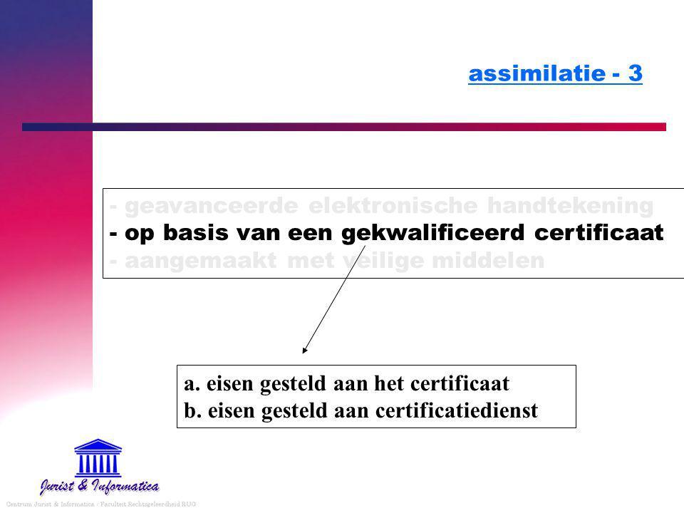 assimilatie - 3 - geavanceerde elektronische handtekening - op basis van een gekwalificeerd certificaat - aangemaakt met veilige middelen.
