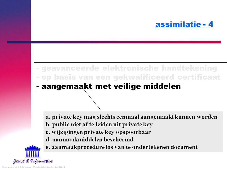 assimilatie - 4 - geavanceerde elektronische handtekening - op basis van een gekwalificeerd certificaat - aangemaakt met veilige middelen.