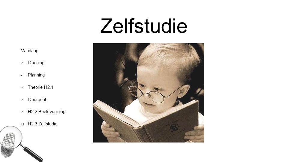 Zelfstudie Vandaag Opening Planning Theorie H2.1 Opdracht