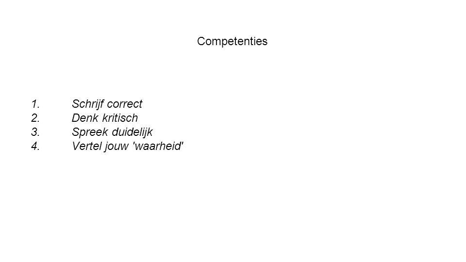 Competenties Schrijf correct Denk kritisch Spreek duidelijk Vertel jouw waarheid