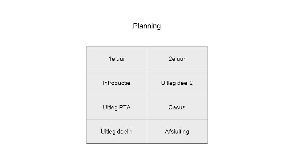 Planning 1e uur 2e uur Introductie Uitleg deel 2 Uitleg PTA Casus