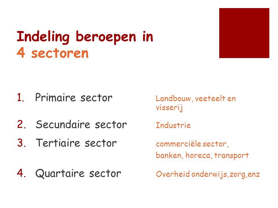 Indeling beroepen in 4 sectoren