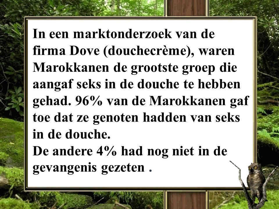 In een marktonderzoek van de firma Dove (douchecrème), waren Marokkanen de grootste groep die aangaf seks in de douche te hebben gehad.