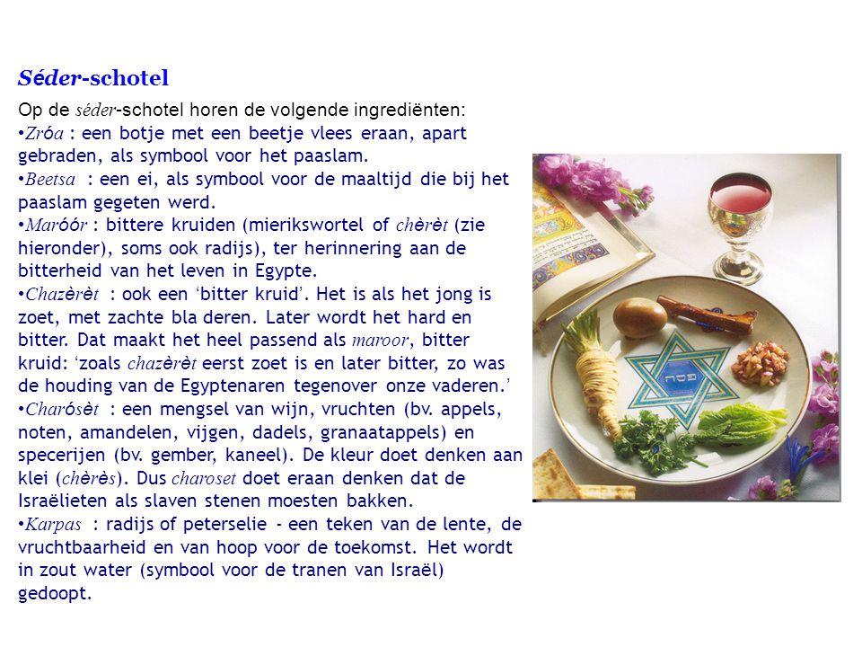 Séder-schotel Op de séder-schotel horen de volgende ingrediënten: