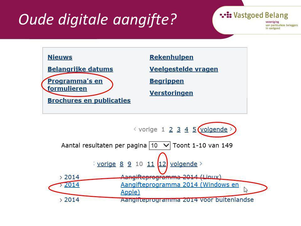 Oude digitale aangifte