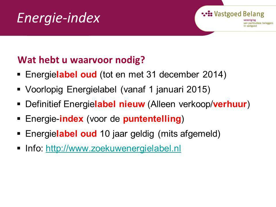 Energie-index Wat hebt u waarvoor nodig