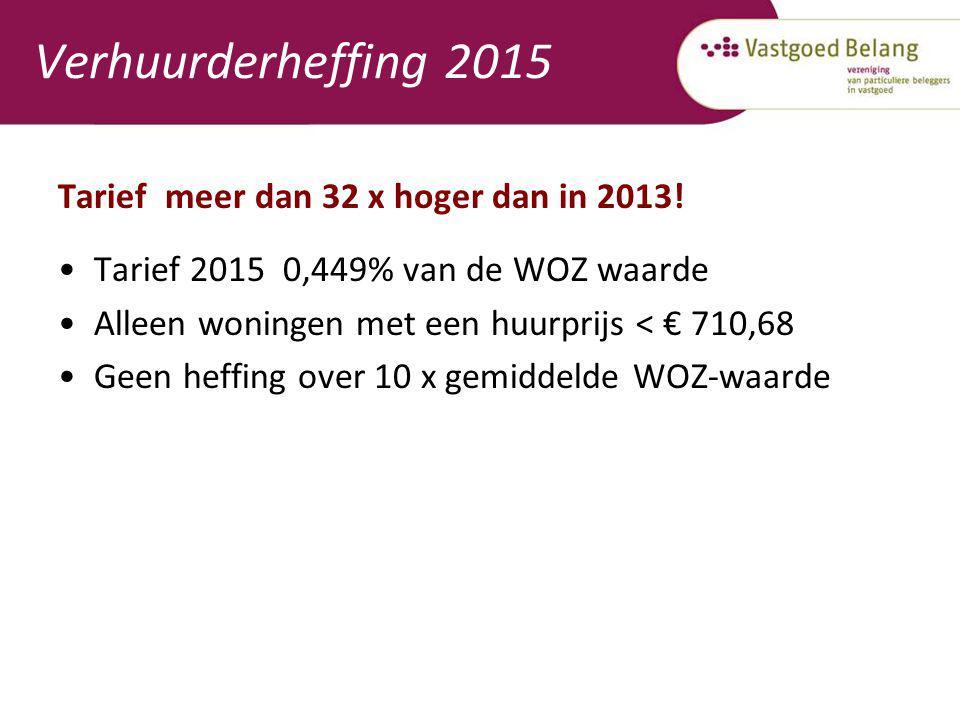 Verhuurderheffing 2015 Tarief meer dan 32 x hoger dan in 2013!