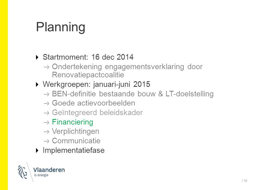 Planning Startmoment: 16 dec 2014