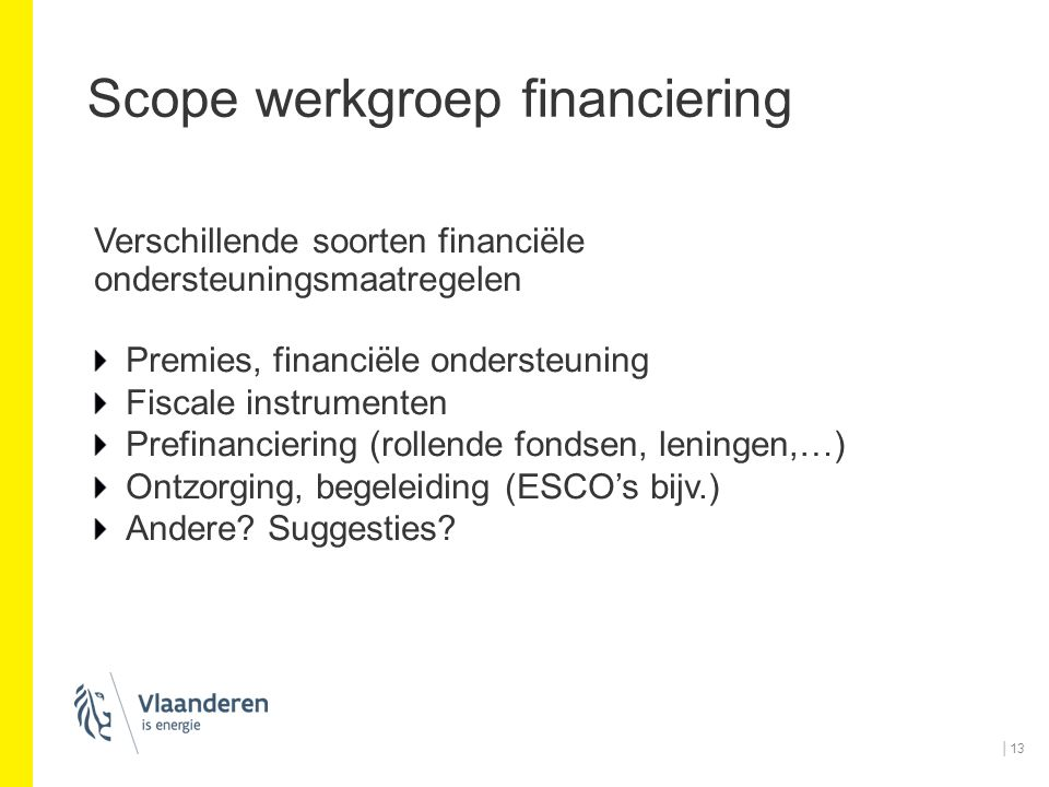 Scope werkgroep financiering