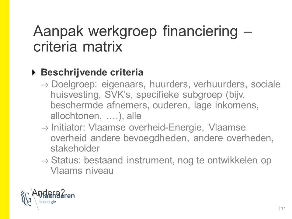Aanpak werkgroep financiering – criteria matrix