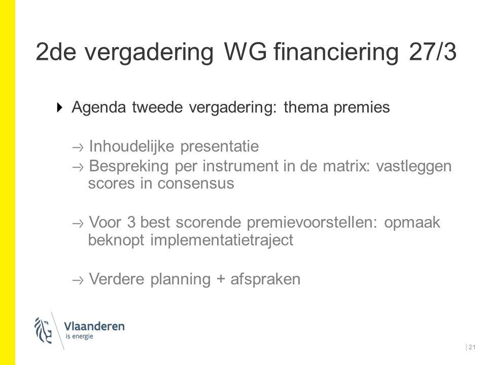 2de vergadering WG financiering 27/3