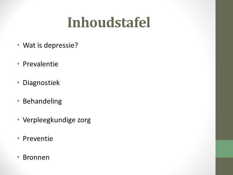 Inhoudstafel Wat is depressie Prevalentie Diagnostiek Behandeling