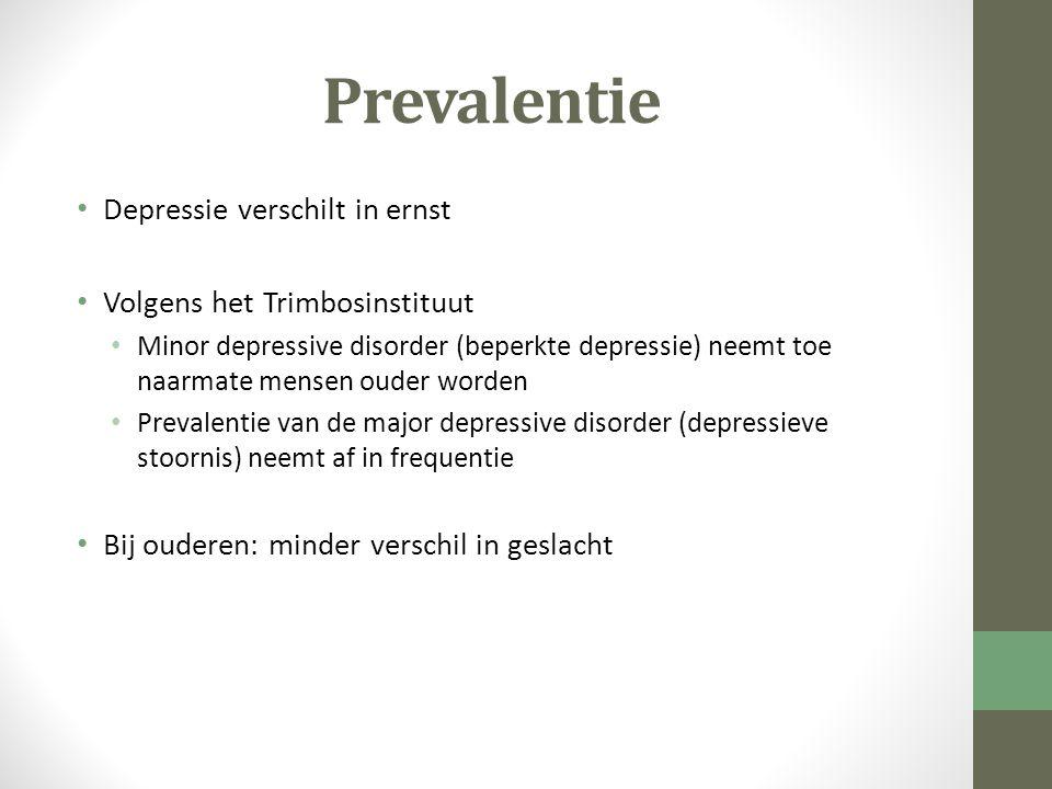 Prevalentie Depressie verschilt in ernst Volgens het Trimbosinstituut