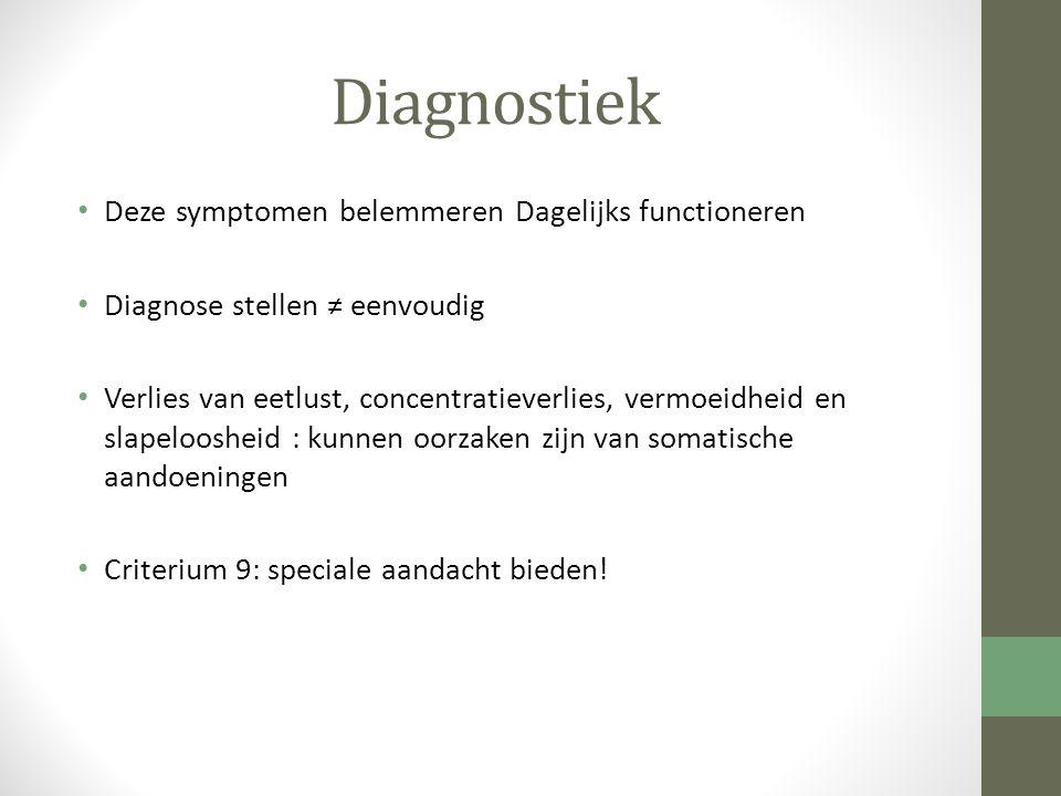 Diagnostiek Deze symptomen belemmeren Dagelijks functioneren