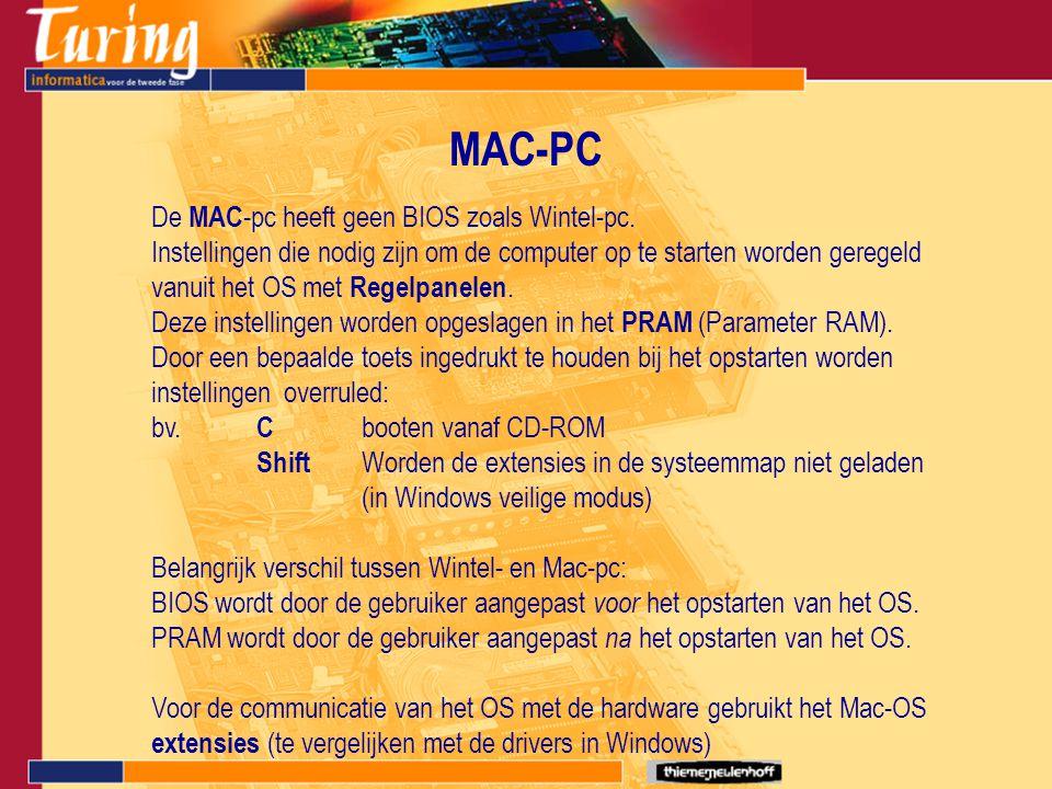 MAC-PC De MAC-pc heeft geen BIOS zoals Wintel-pc.