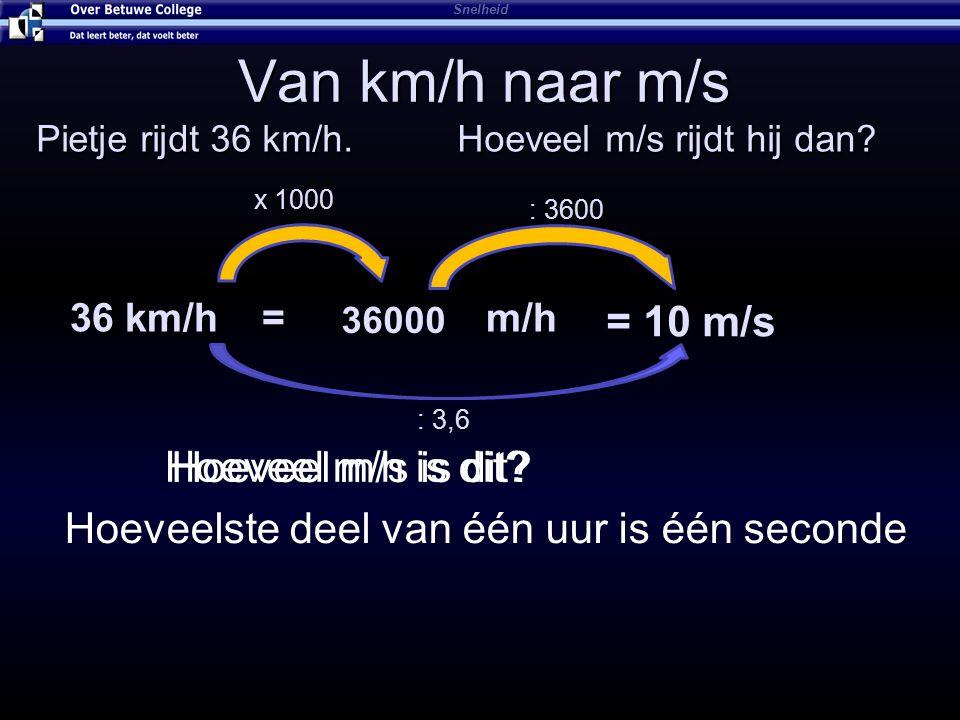 Van km/h naar m/s = 10 m/s Hoeveel m/h is dit Hoeveel m/s is dit