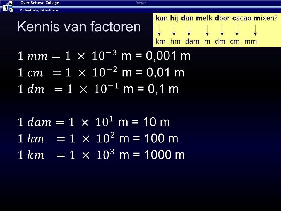 Kennis van factoren 1 𝑚𝑚=1 × 10 −3 m = 0,001 m