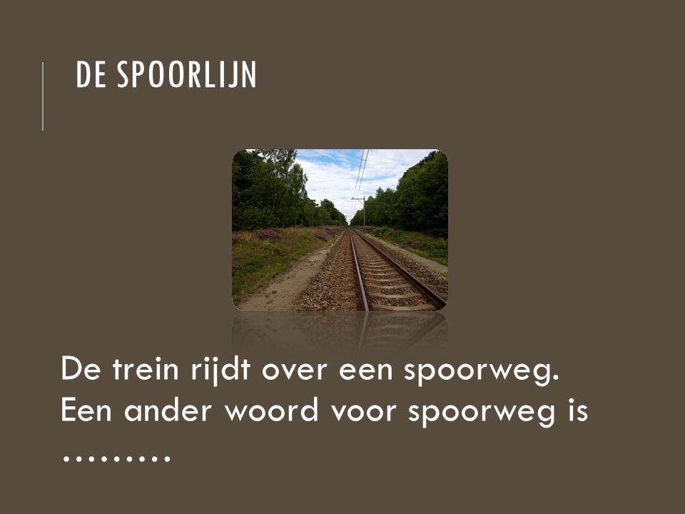 De spoorlijn De trein rijdt over een spoorweg. Een ander woord voor spoorweg is ………