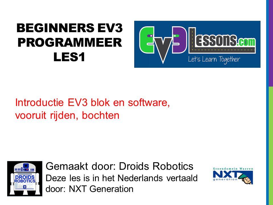 BEGINNERS EV3 PROGRAMMEER Les1