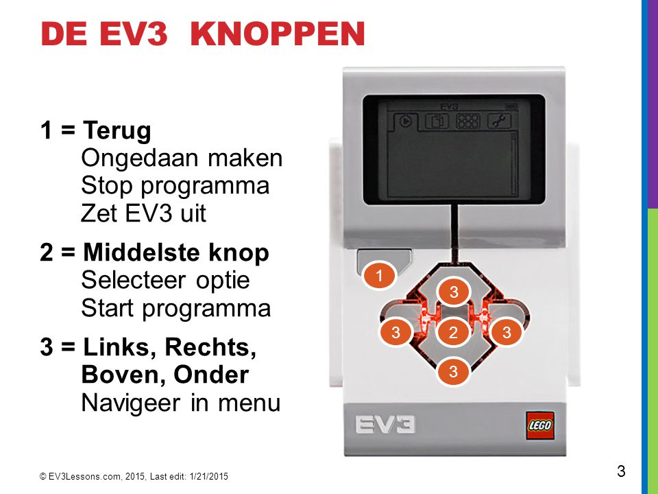 dE EV3 KNOPPEN