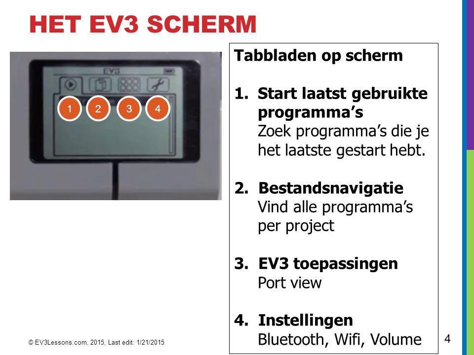 Het EV3 scherm Tabbladen op scherm