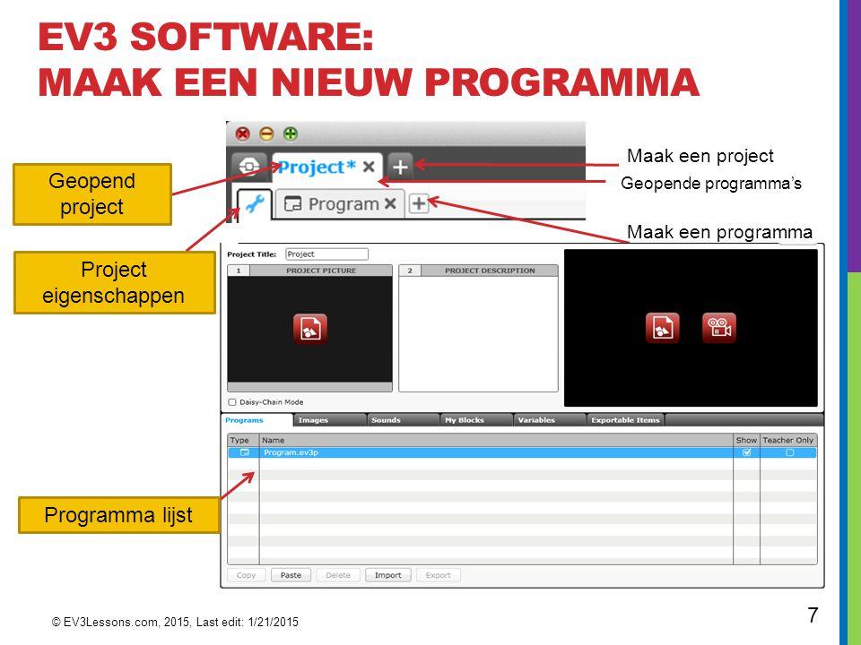 EV3 Software: Maak een nieuw programma