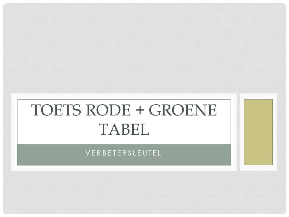 Toets rode + groene tabel