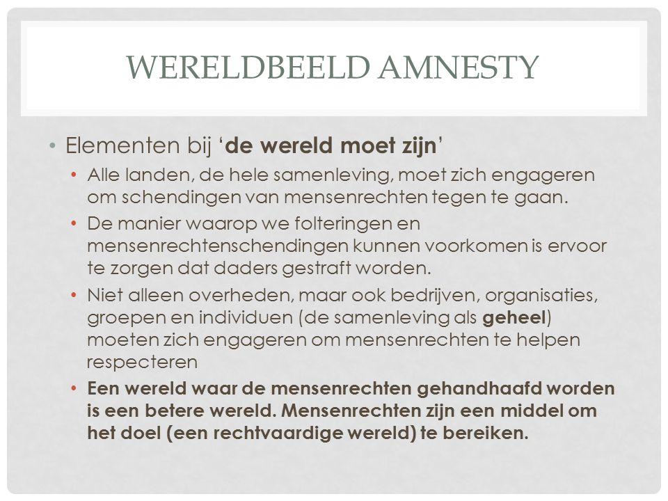 Wereldbeeld amnesty Elementen bij 'de wereld moet zijn'