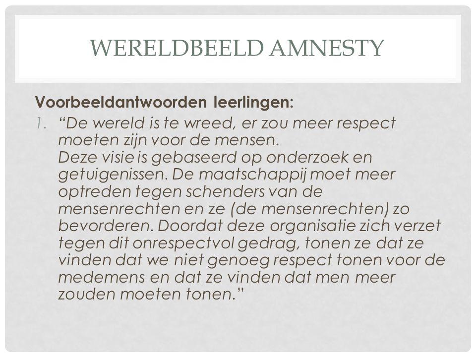 Wereldbeeld amnesty Voorbeeldantwoorden leerlingen: