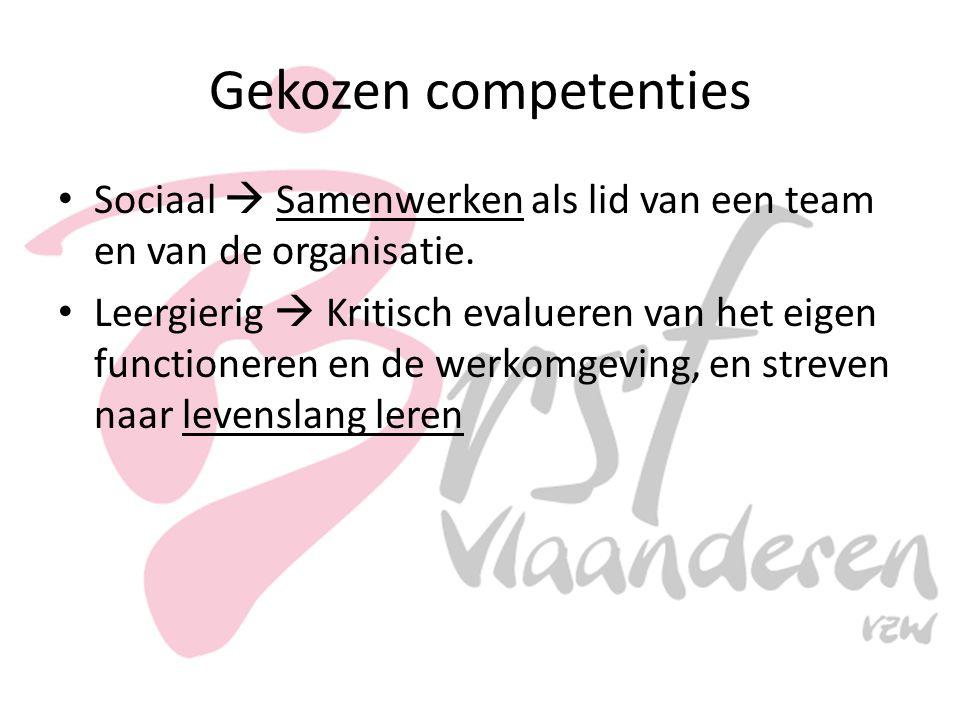Gekozen competenties Sociaal  Samenwerken als lid van een team en van de organisatie.