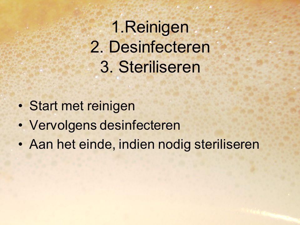 1.Reinigen 2. Desinfecteren 3. Steriliseren