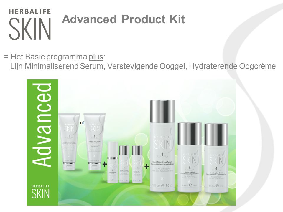 Advanced Product Kit = Het Basic programma plus: