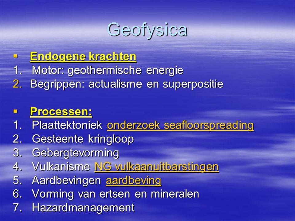 Geofysica Endogene krachten 1. Motor: geothermische energie
