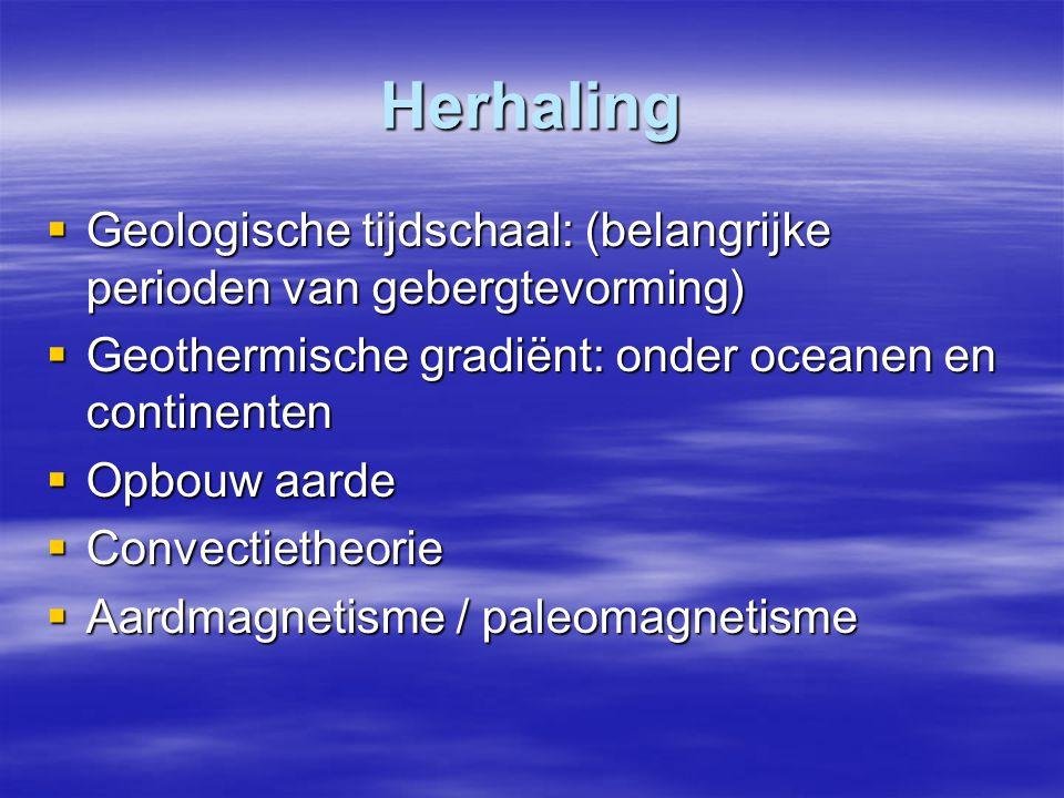 Herhaling Geologische tijdschaal: (belangrijke perioden van gebergtevorming) Geothermische gradiënt: onder oceanen en continenten.