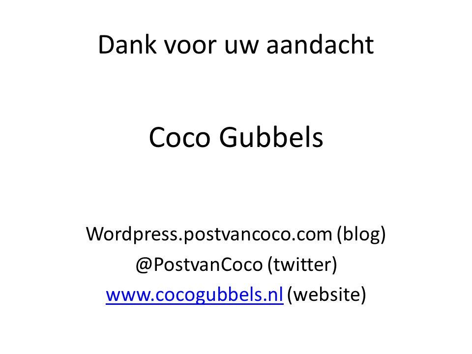 Coco Gubbels Dank voor uw aandacht Wordpress.postvancoco.com (blog)