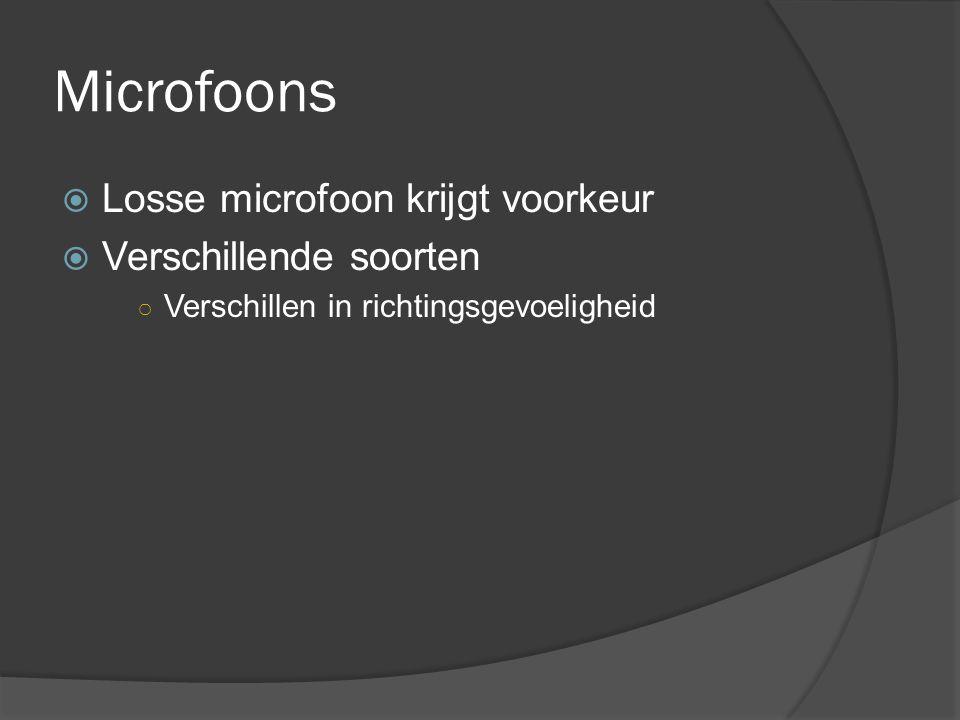 Microfoons Losse microfoon krijgt voorkeur Verschillende soorten