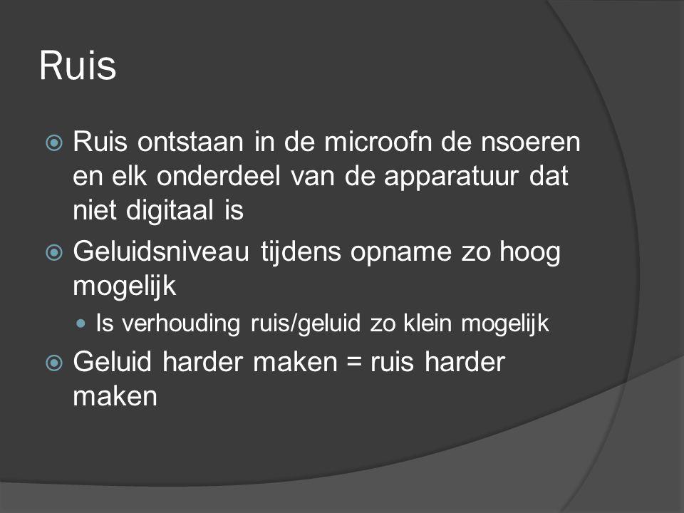 Ruis Ruis ontstaan in de microofn de nsoeren en elk onderdeel van de apparatuur dat niet digitaal is.