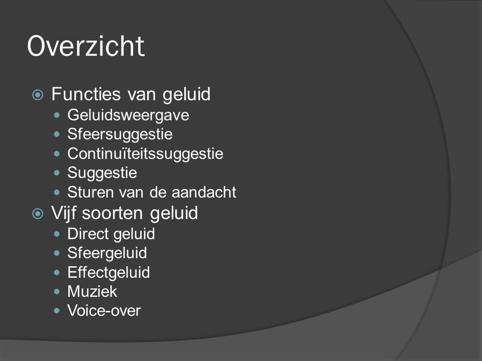 Overzicht Functies van geluid Vijf soorten geluid Geluidsweergave