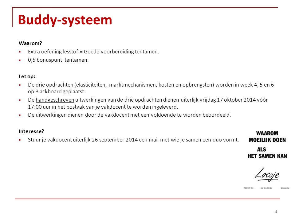 Buddy-systeem Waarom Extra oefening lesstof = Goede voorbereiding tentamen. 0,5 bonuspunt tentamen.