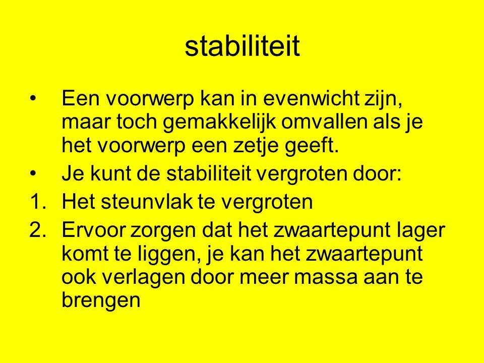 stabiliteit Een voorwerp kan in evenwicht zijn, maar toch gemakkelijk omvallen als je het voorwerp een zetje geeft.
