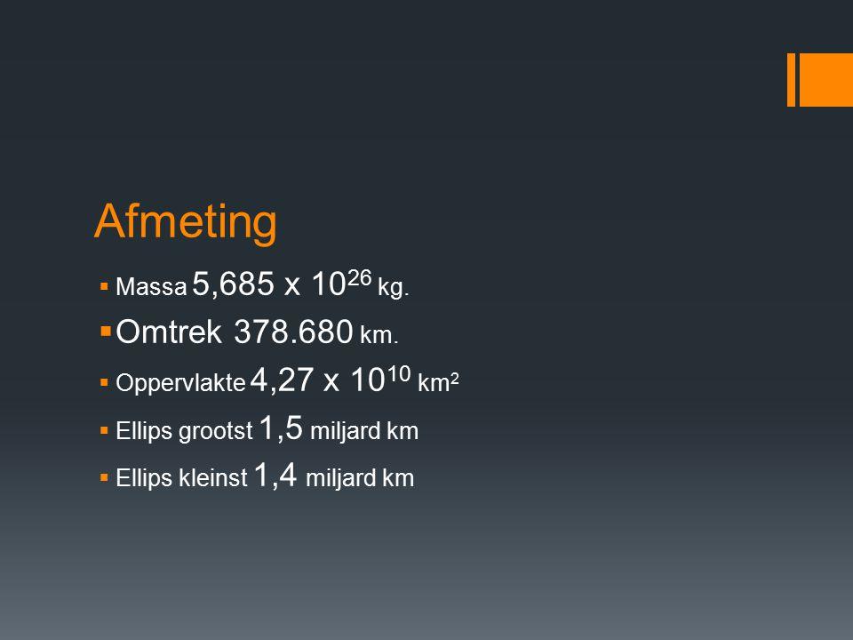 Afmeting Omtrek 378.680 km. Massa 5,685 x 1026 kg.
