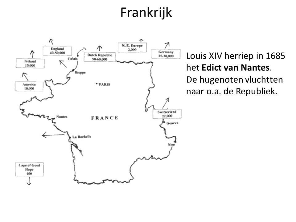 Frankrijk Louis XIV herriep in 1685 het Edict van Nantes.