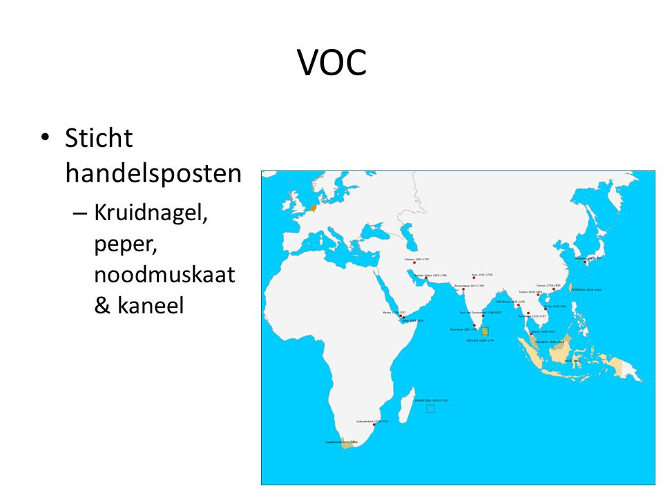 VOC Sticht handelsposten Kruidnagel, peper, noodmuskaat & kaneel
