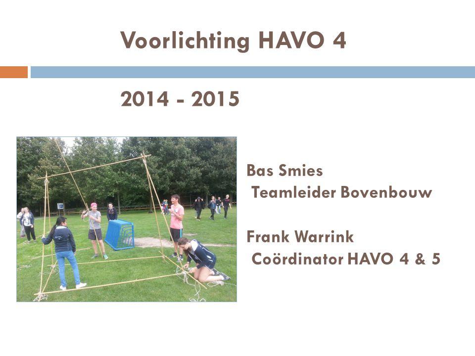 Voorlichting HAVO 4 2014 - 2015 Bas Smies Teamleider Bovenbouw