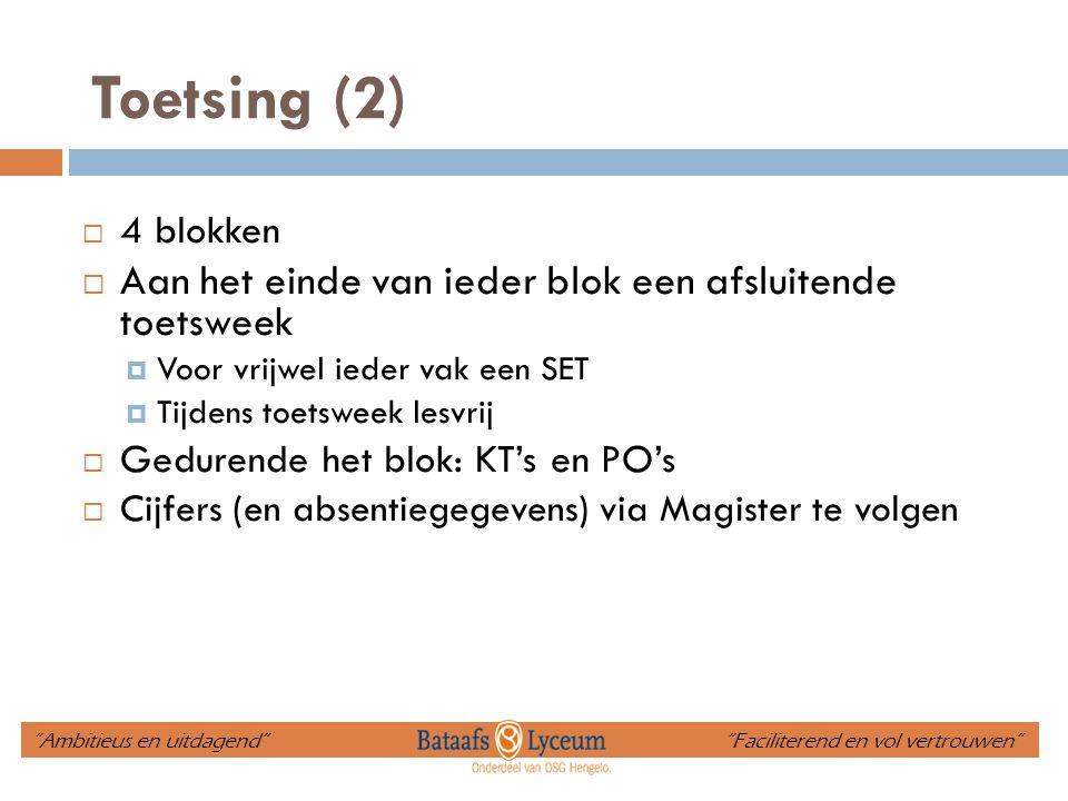 Toetsing (2) Aan het einde van ieder blok een afsluitende toetsweek
