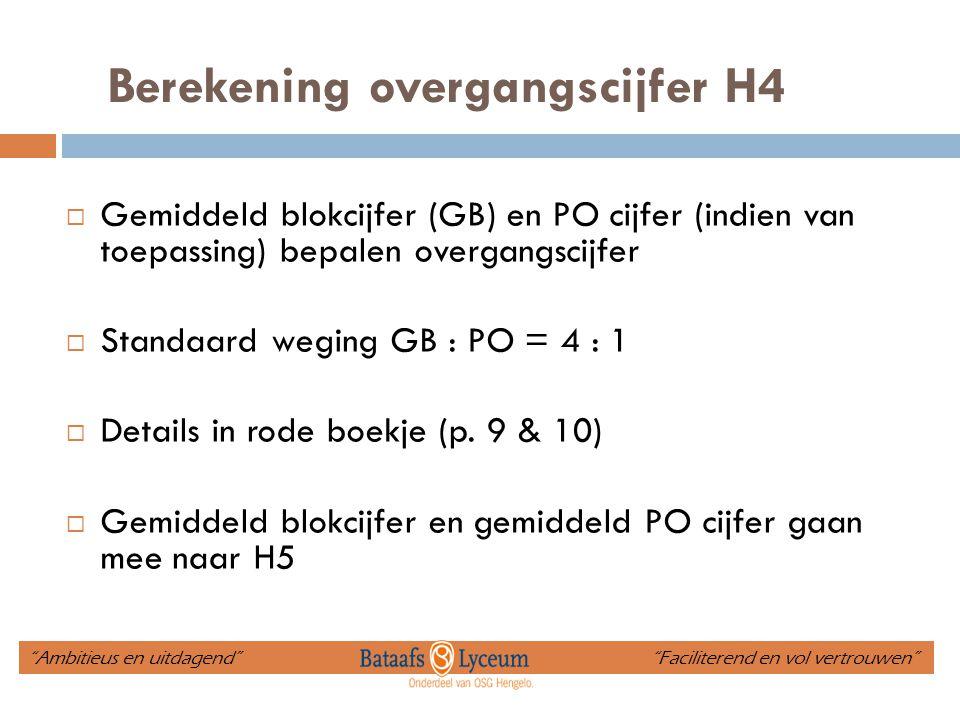 Berekening overgangscijfer H4